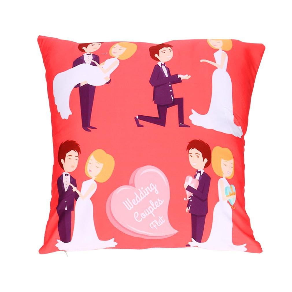 Valentine's Day Decorative Polyester Throw Pillow Cover Square Pillow Case Print Cushion Cover 18 x 18 Inches (T)