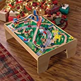 Best Popular New Fun Kids Toddlers Boys Girls Solid Wood Car Trains airport Bridges Waterfalls Mountains Roads Play Activity Learning Center Table Toy With Many Accessories- Storage Organizer Tubs