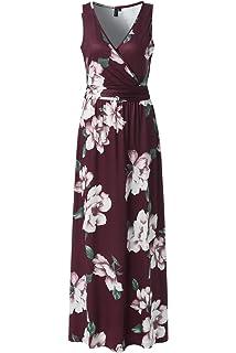 4b4a455b7f9 Zattcas Womens V Neck Sleeveless Maxi Dress Casual Empire Floral Maxi Dress