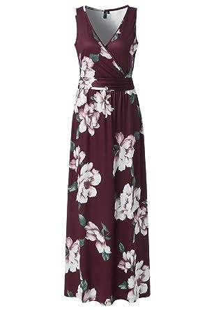 4027ad7c9d54 Zattcas Womens V Neck Sleeveless Maxi Dress Casual Empire Floral Maxi Dress  (Small, Wine