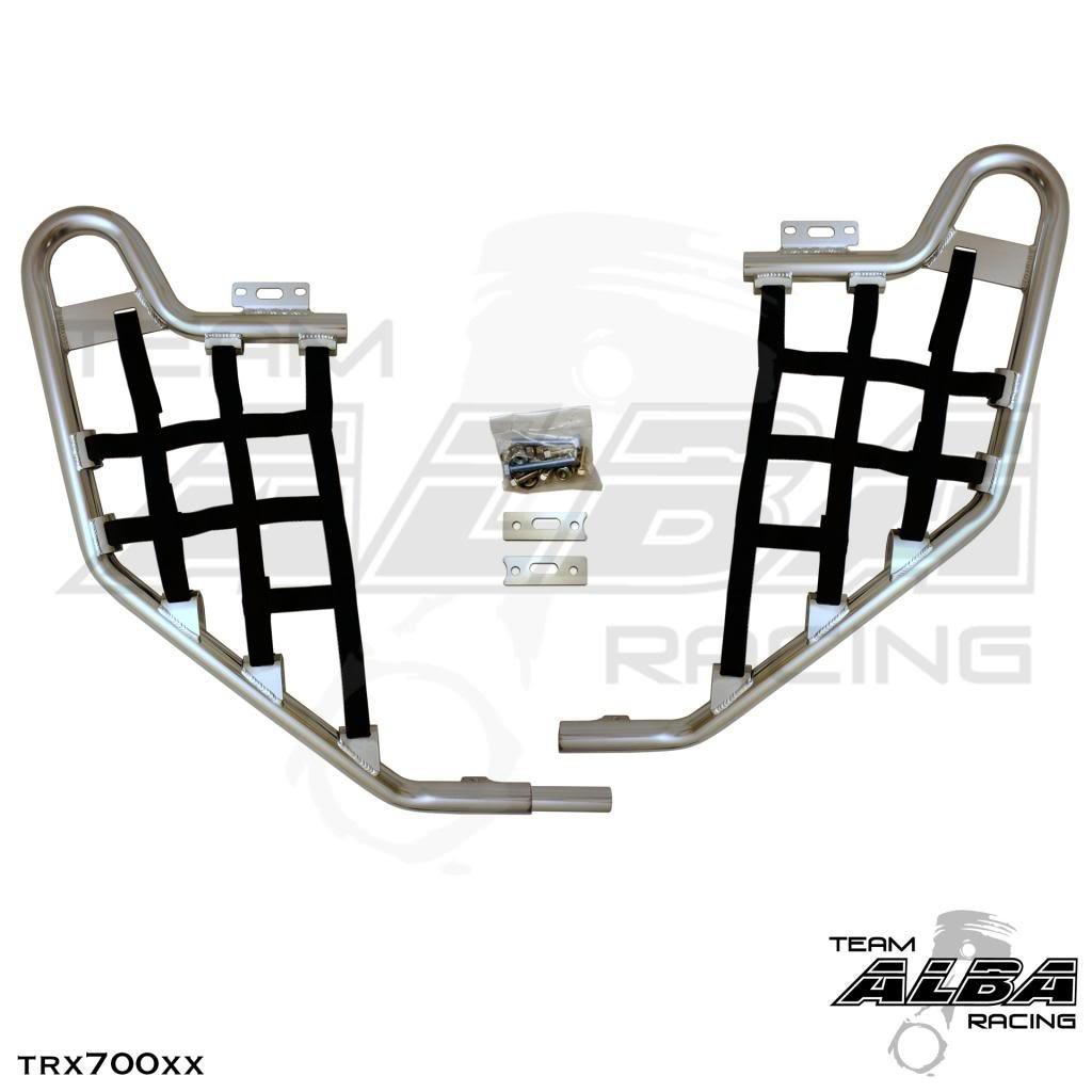 Honda TRX 700XX (2008-2009) Standard Nerf Bars Silver w/ Black Net