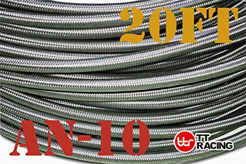 10 AN-10 AN10 Stainless Steel Braided Fuel Gas Line Hose 20FT + Swivel Black Fitting Kit