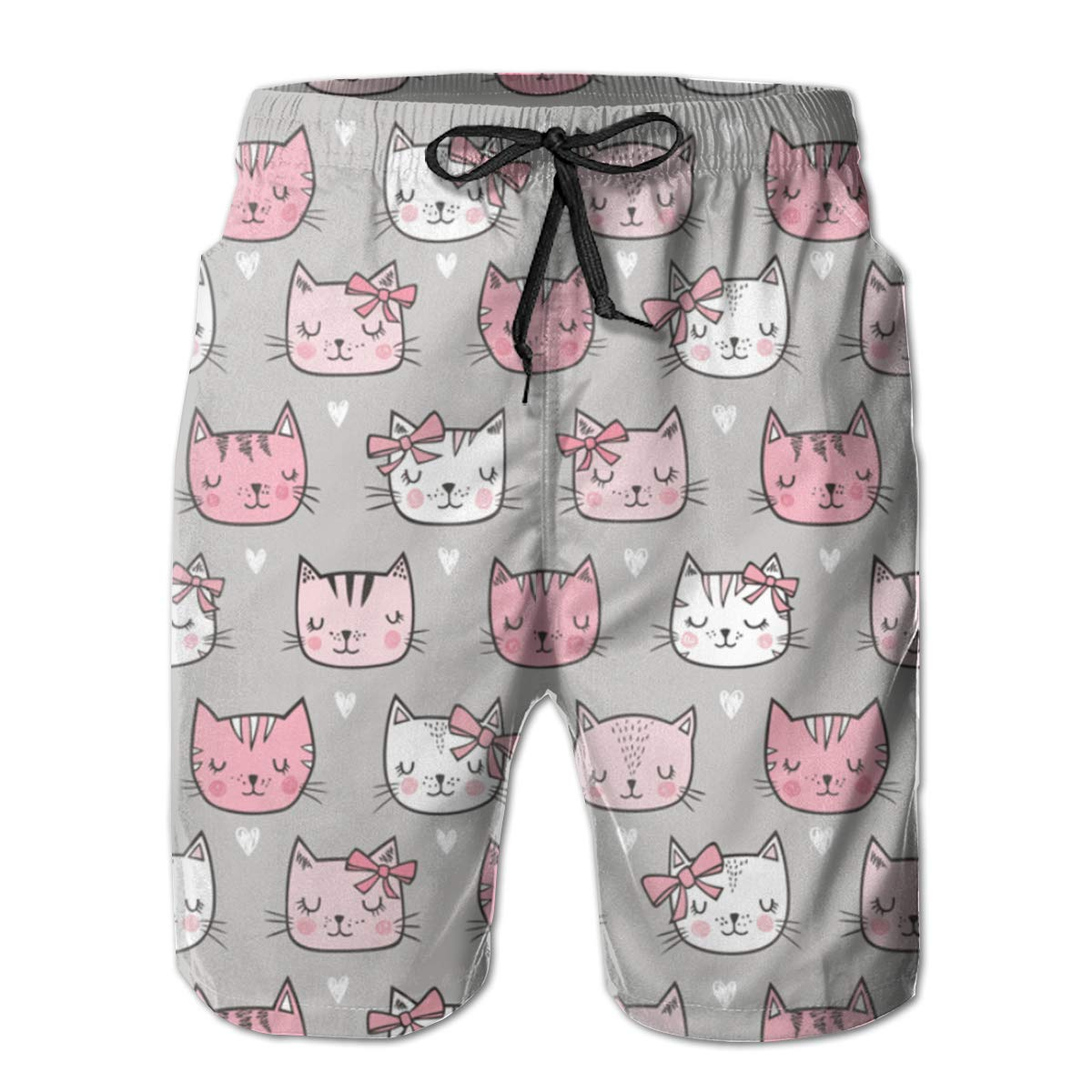 Mens Swim Trunks Pink Cat Quick Dry Beach Board Shorts with Mesh Lining