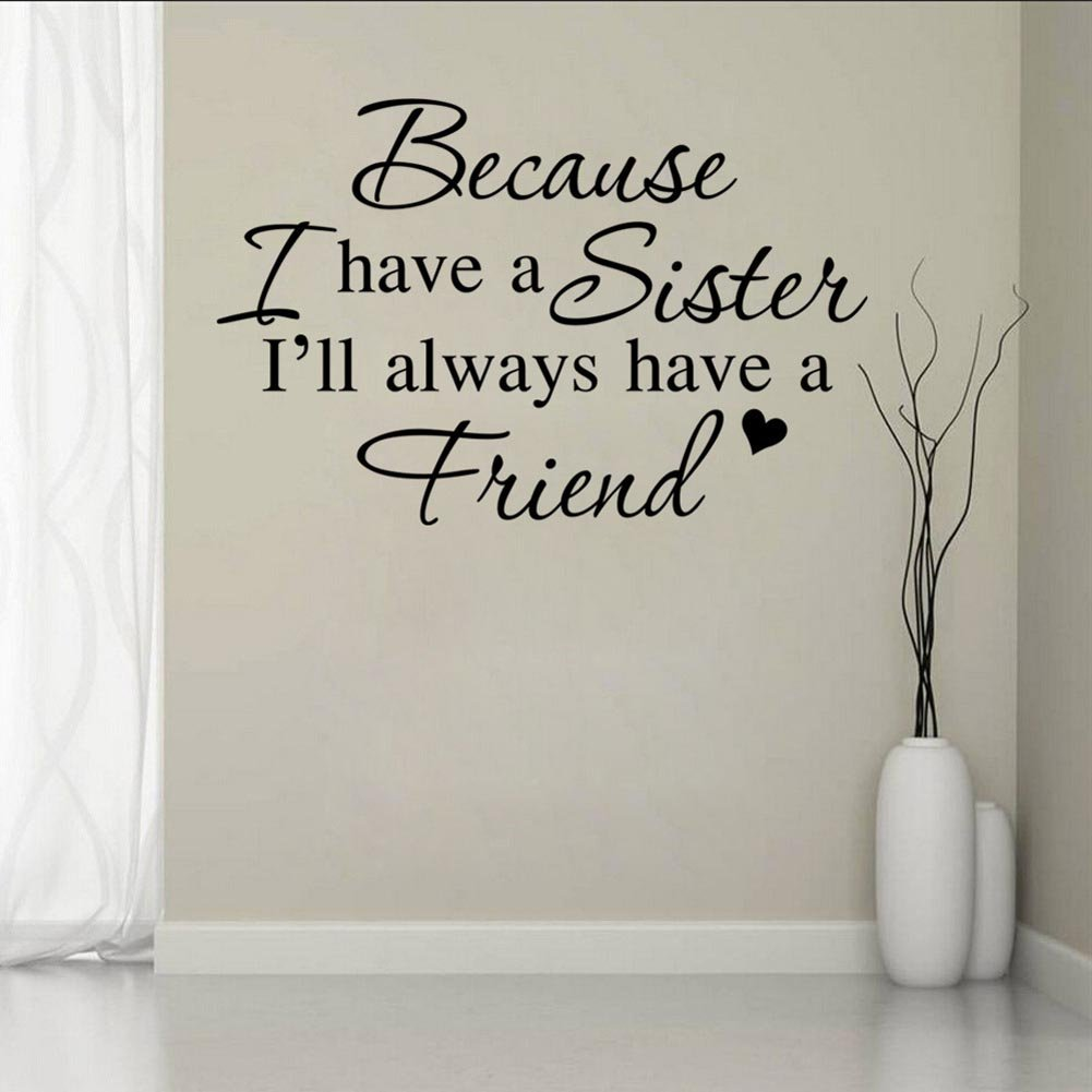 BIBITIME Twins Bedroom Sayings Because I have a Sister I will always have a Friend Wall Decal Quotes Sticker for Nursery Kids Room Decor,20.86 x 13.77 20.86 x 13.77 2422