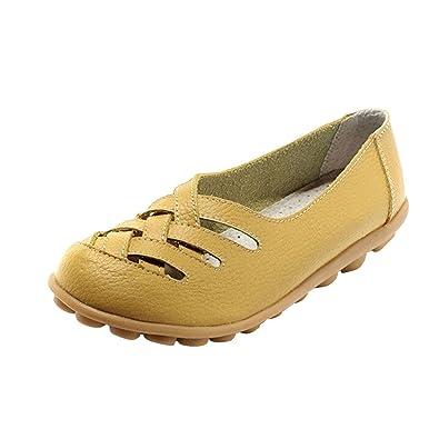 Mocasines de Cuero Mujer Verano Autumn 2018 Nuevo Modelo Cómodos Zapatos Planos: Amazon.es: Zapatos y complementos