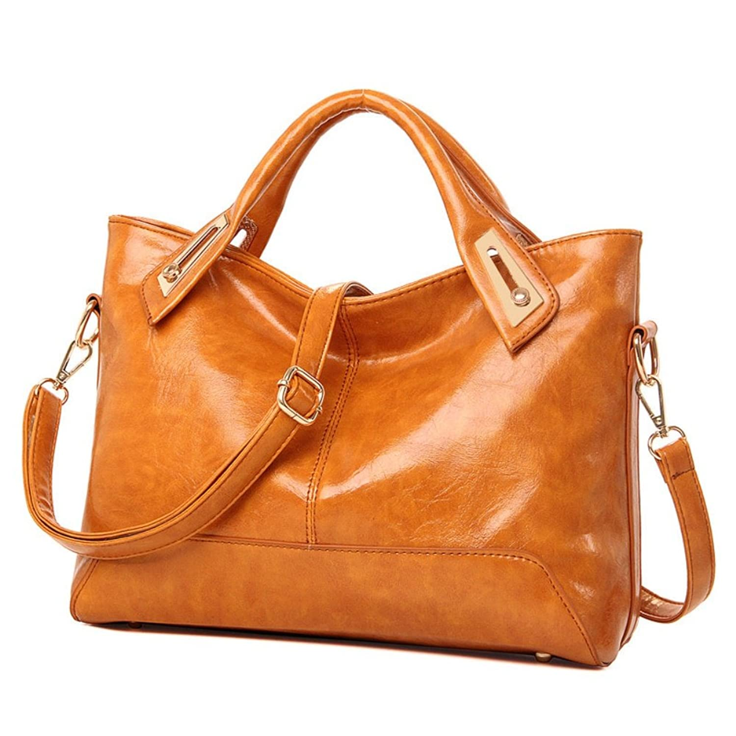 FCZERO HB10047 PU Leather Handbag for Women,Temperament & Youth Oil Wax Package - Gift