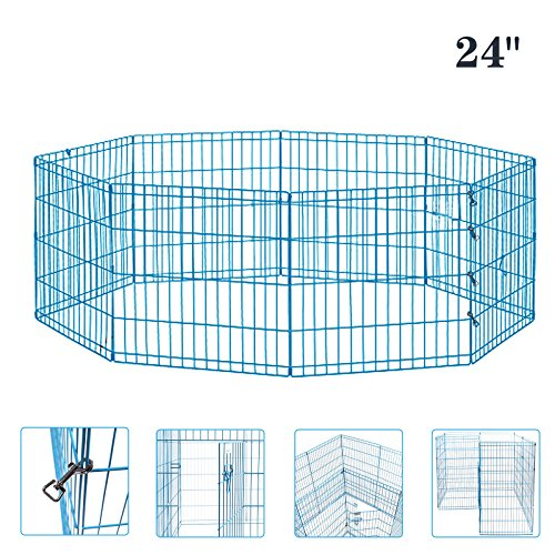 Cheap Idealchoiceproduct Pet Playpen Pet Pen Folding Wire Dog Exercise Pen Pet Fence Yard Fence 8 Panel Cage 24-42 Inch-Blue Color