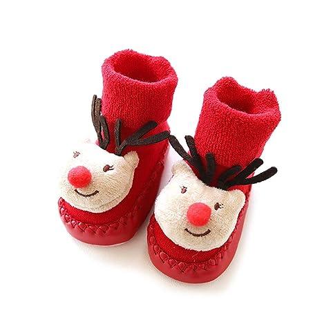 Hilai Niños 1 par de Navidad para niños Calcetines Calzado Antideslizante Suelo Zapatilla Walker Transpirable Calcetines