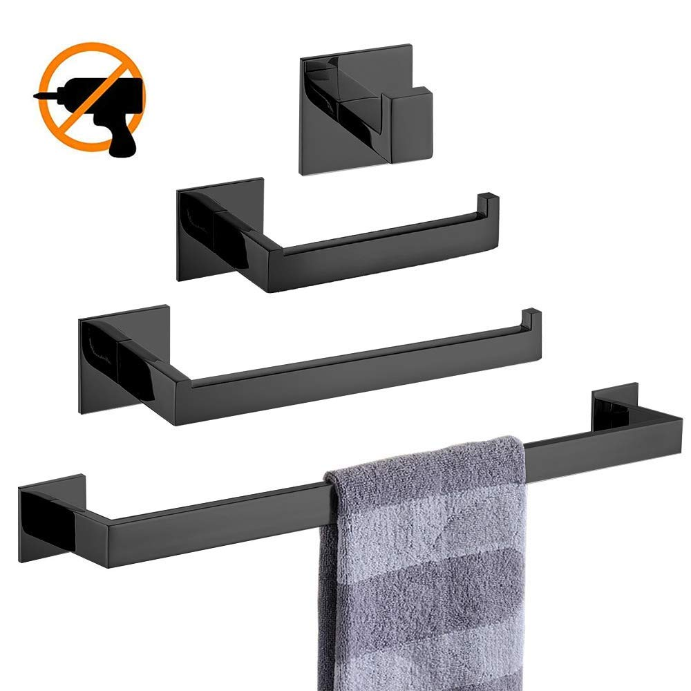 Homovater Bathroom Towel Bar Self Adhesive Black Finish Towel Ring Holder Stainless Steel Construction,Without Drilling
