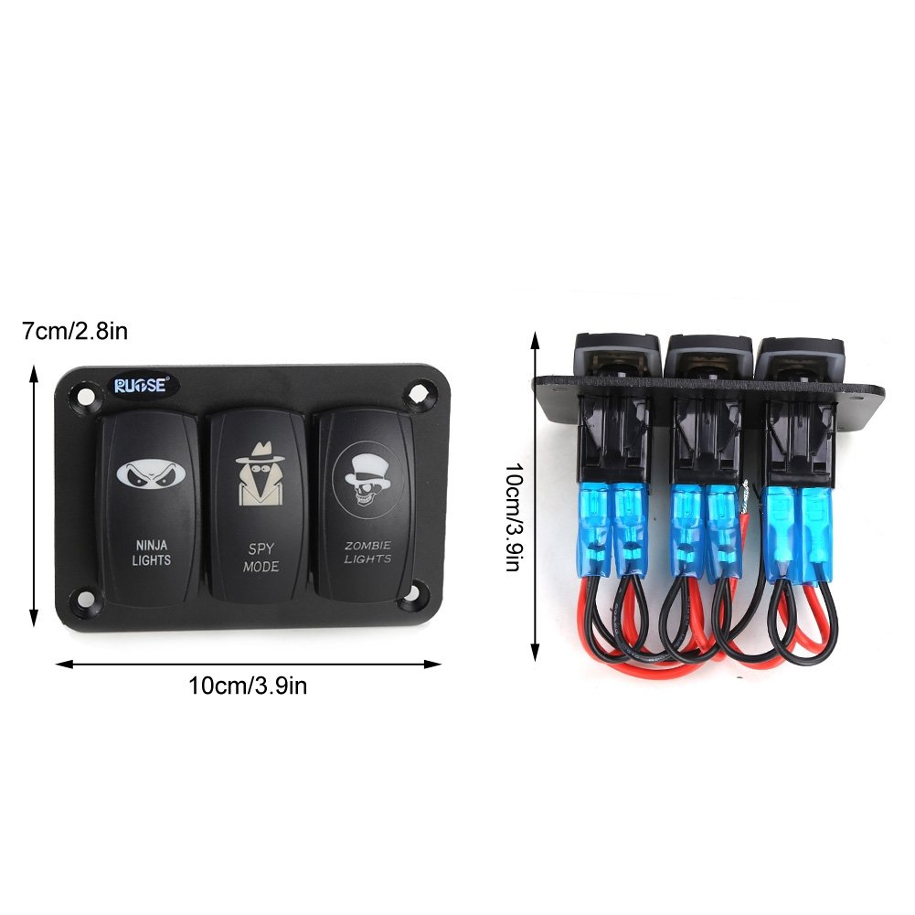 Rupse 3 Gang Marine Boat Car Switch Panel Blue Red Led Carling Wiring Connector Air On Board Light 5pin Off Rocker 12 24v 001 Sports Outdoors