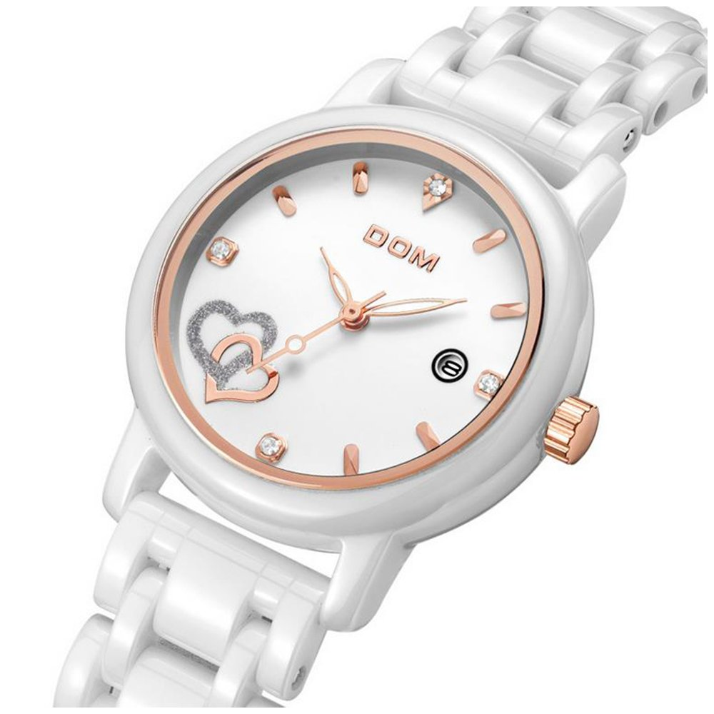 Amazon.com: Sheli Women Luxury Watches Waterproof Quartz Watch White Ceramic Nurse Wedding Watch Reloj Mujer: Watches
