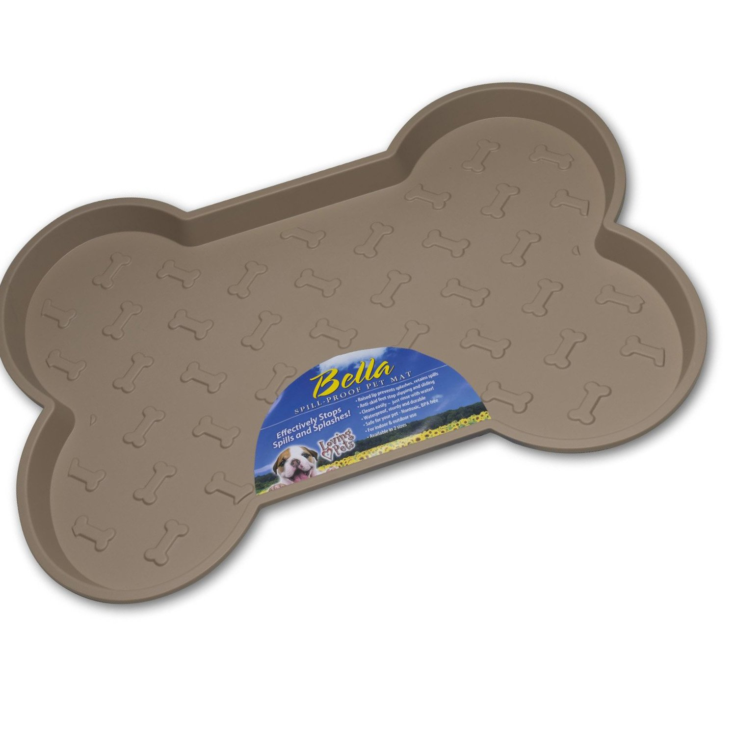 Loving Pets Bella Spill-Proof Pet Mat For Dogs Small Tan 6