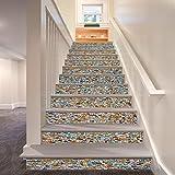 Whitelotous 6pcs 3D Stair Tile Stickers Decoration Photo Mural PVC Home Decal Wallpaper Decor (Colorful Stone Pattern)