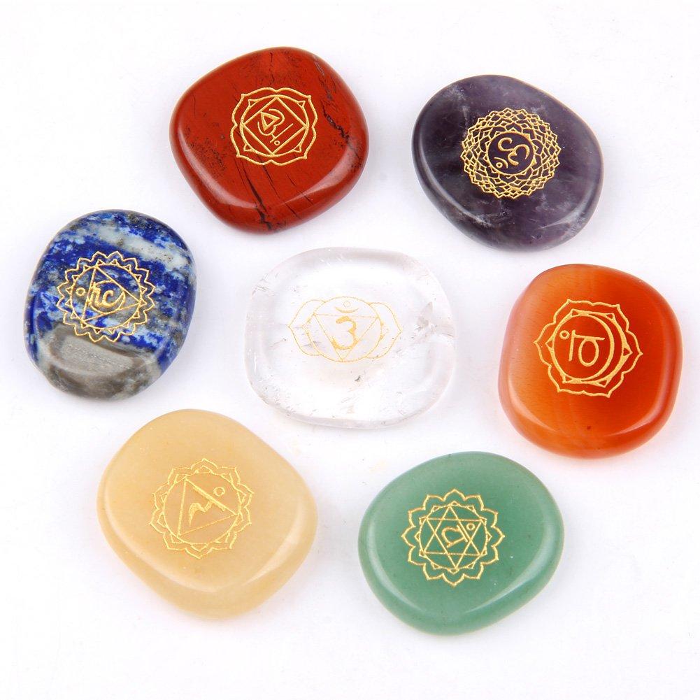 Amazon Chakra Stones Reiki Healing Crystal With Engraved Chakra
