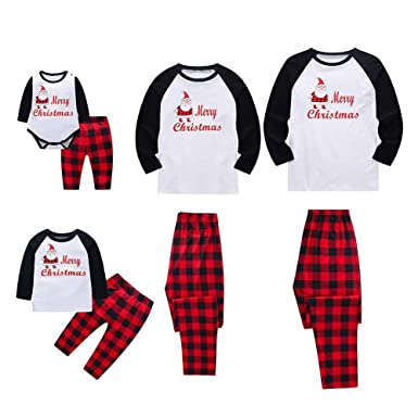 1d3ff9deae Amazon.com  Sameno Family Baby Dad Mom Boy Girl Christmas Matching Pajamas  Santa Plaid Top Pants Xmas Sleepwear Set  Clothing