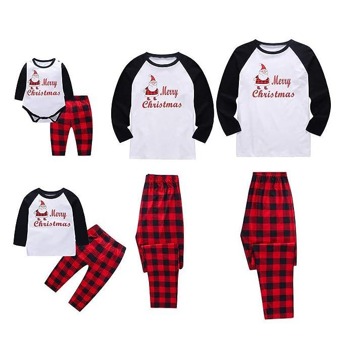 Familiares Pijama de Navidad Ropa De Dormir Rayas Camisetas de Manga Larga Mujer Hombre Bebé Niño Niña Mono Traje de Pijama Conjunto de Familiares-7: ...