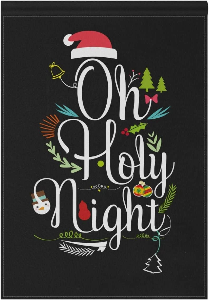 ZZAEO Christmas Oh Holy Night Large Garden Flag Vertical Polyester Double-Sided Printed Home Yard Holiday Decor-28 x 40 inch