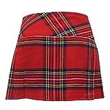"Viper London Womens Red Plaid 13"" Wraparound Leather Straps Mini Kilt Skirt - Free Pin"