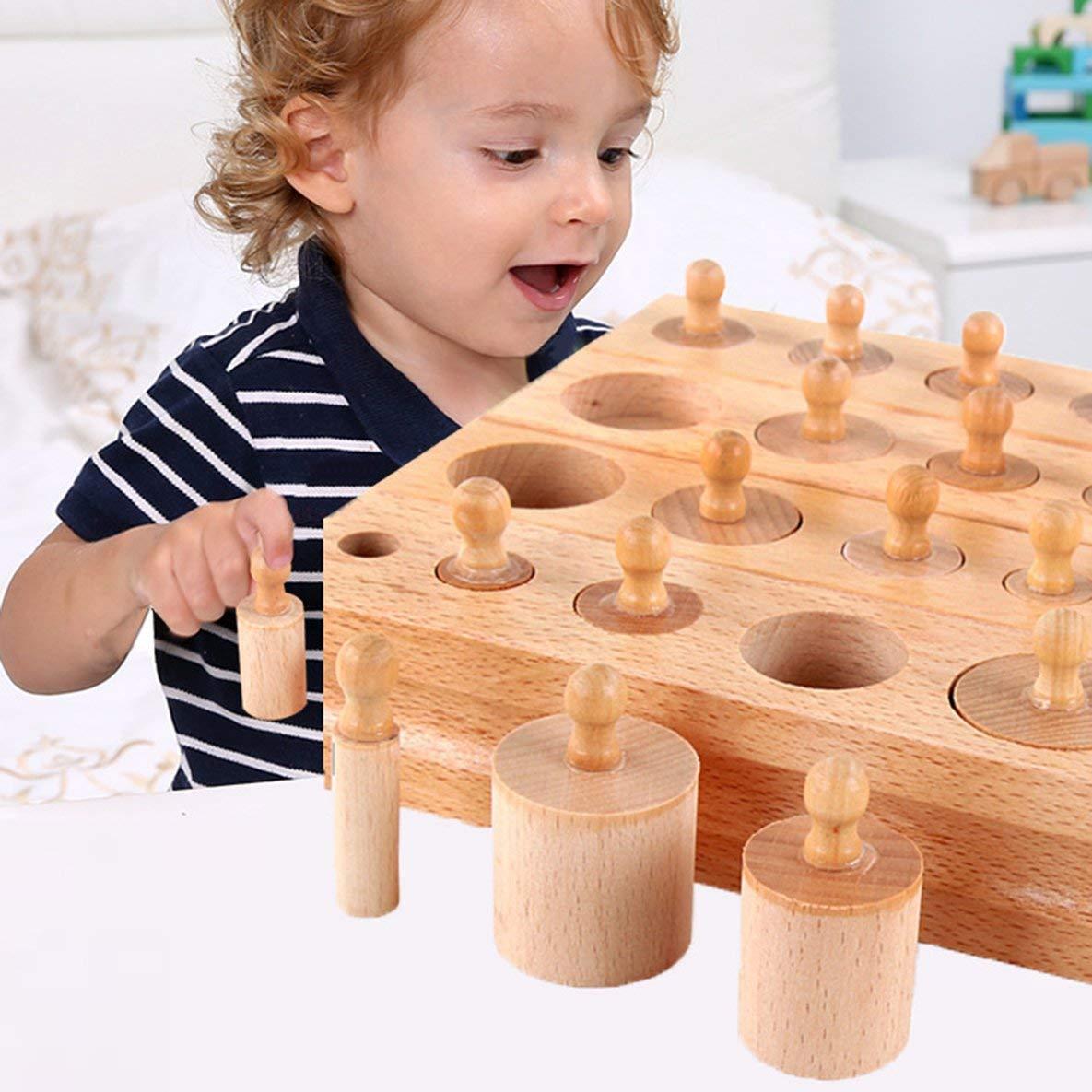 Noradtjcca Mat/ériaux Montessori Jouets Montessori Jeux /éducatifs Cylindre Blocs de Socle Jouets math/ématiques en Bois Jouets Parent-Enfant Interaction