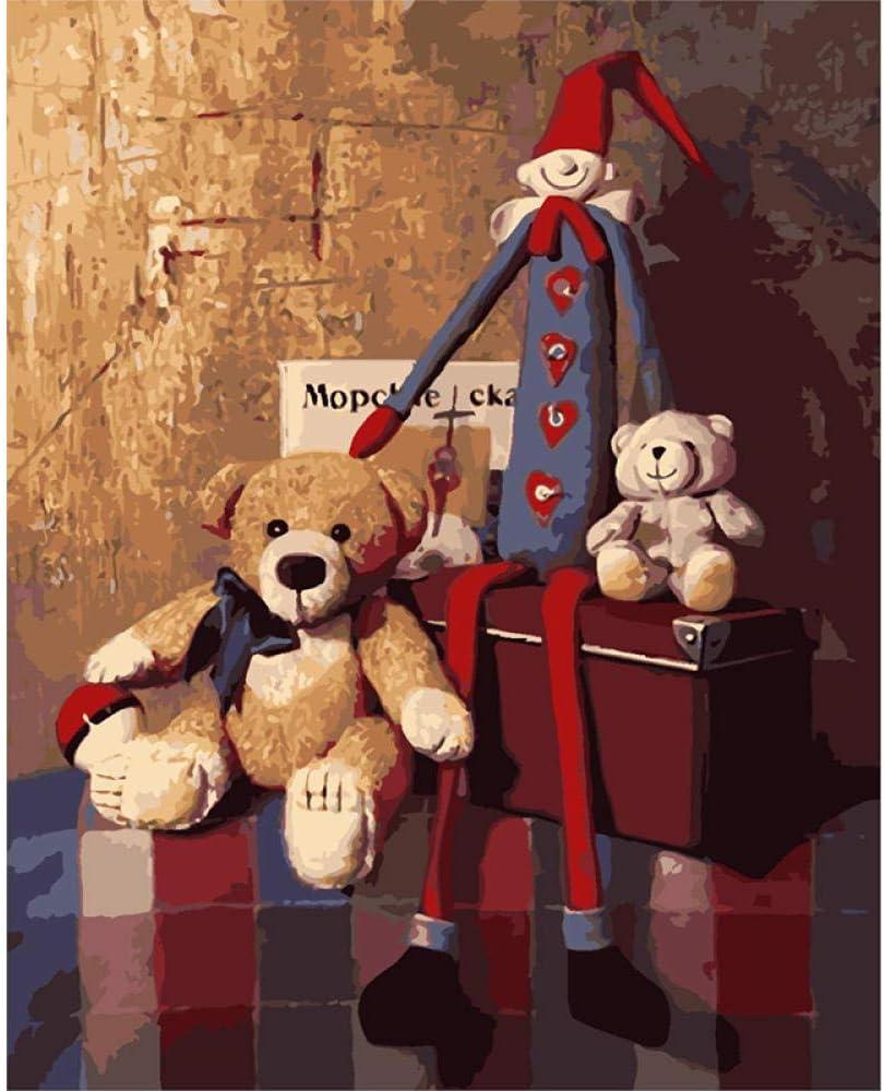 FSXMPL Pintura Digital para Adultos DIY, Oso y marioneta de Juguete NiñOs Lienzo Regalo DecoracióN del Hogar Pintura Conjunto 40x50cm (Sin Marco)