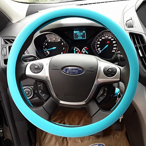 OHF Steering Wheel Cover Auto Car Silicone Great Grip Anti-slip Steering Cover for Diameter 36-38cm/14-15inch(Sky Blue)