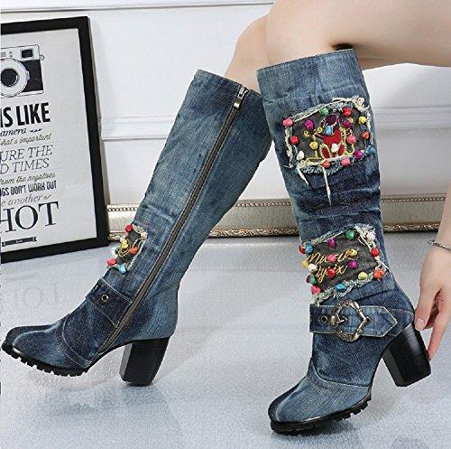 Denim Women's Blue Square Sexy TIANRUI Heel A Diamond Boot Knee Shoe Embroidery Crown 605wqR