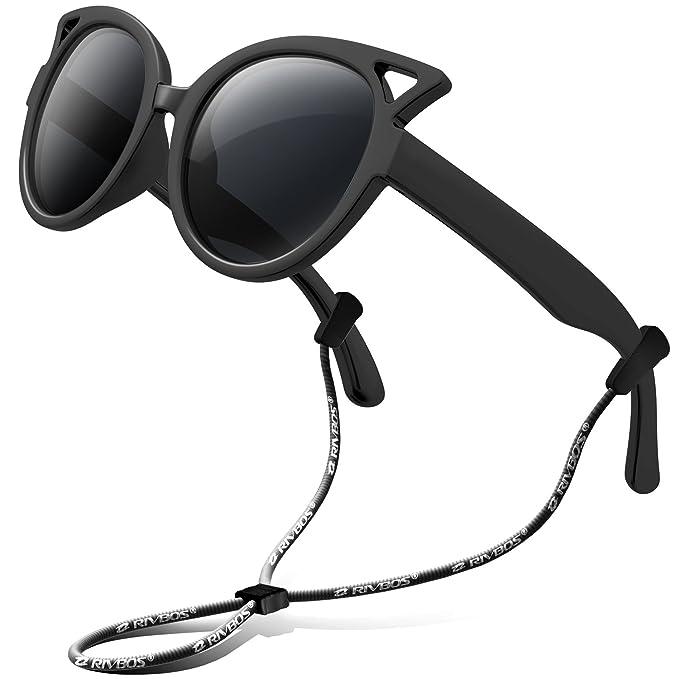 2d7d4d34e5 RIVBOS anteojos de sol polarizadas de goma para niños con correa para  anteojos para niños niñas