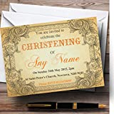 Typography Vintage Orange Postcard Christening Party Personalized Invitations