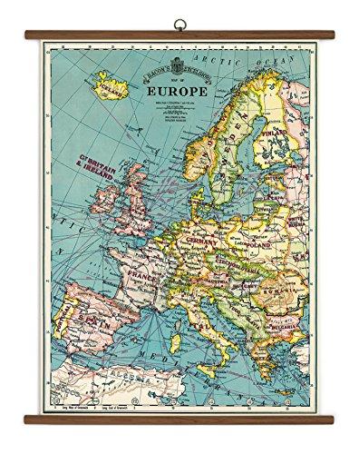 Cavallini Europe Map Vintage School Chart (Europe Chart)