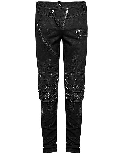 af91cc3435 Punk Rave Mens Dieselpunk Jeans Pants Black Gothic Knee Armour Trousers:  Amazon.co.uk: Clothing