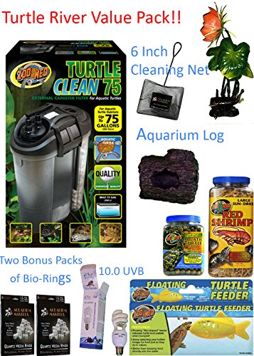 """Value Pack 75 Gallon Turtle Filter (Turtle River Value Pack) - One Turtle Clean 75 External Canister Filter, One 10.0 UVB Lamp, One 6 Inch Cleaning Net, One Lily Plant 8.5 Inch, One Decor Log 3.5 Inch x 4 Inch x 3"""" Inch, One 5 OZ Container of Red Shrimp, One Container of Turtle Maintenance Food, One Floating Turtle Feeder, Two Bonus Packs of Ceramic Bio-Rings!!"""