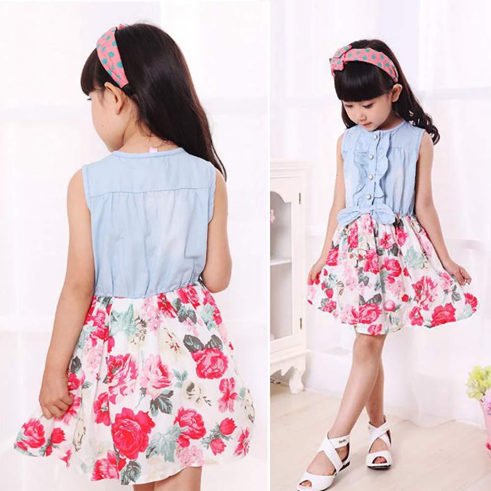 LXXIASHI Toddler Kids Baby Girls Princess Dress Denim Top Floral Tutu Skirts Stitching Clothes