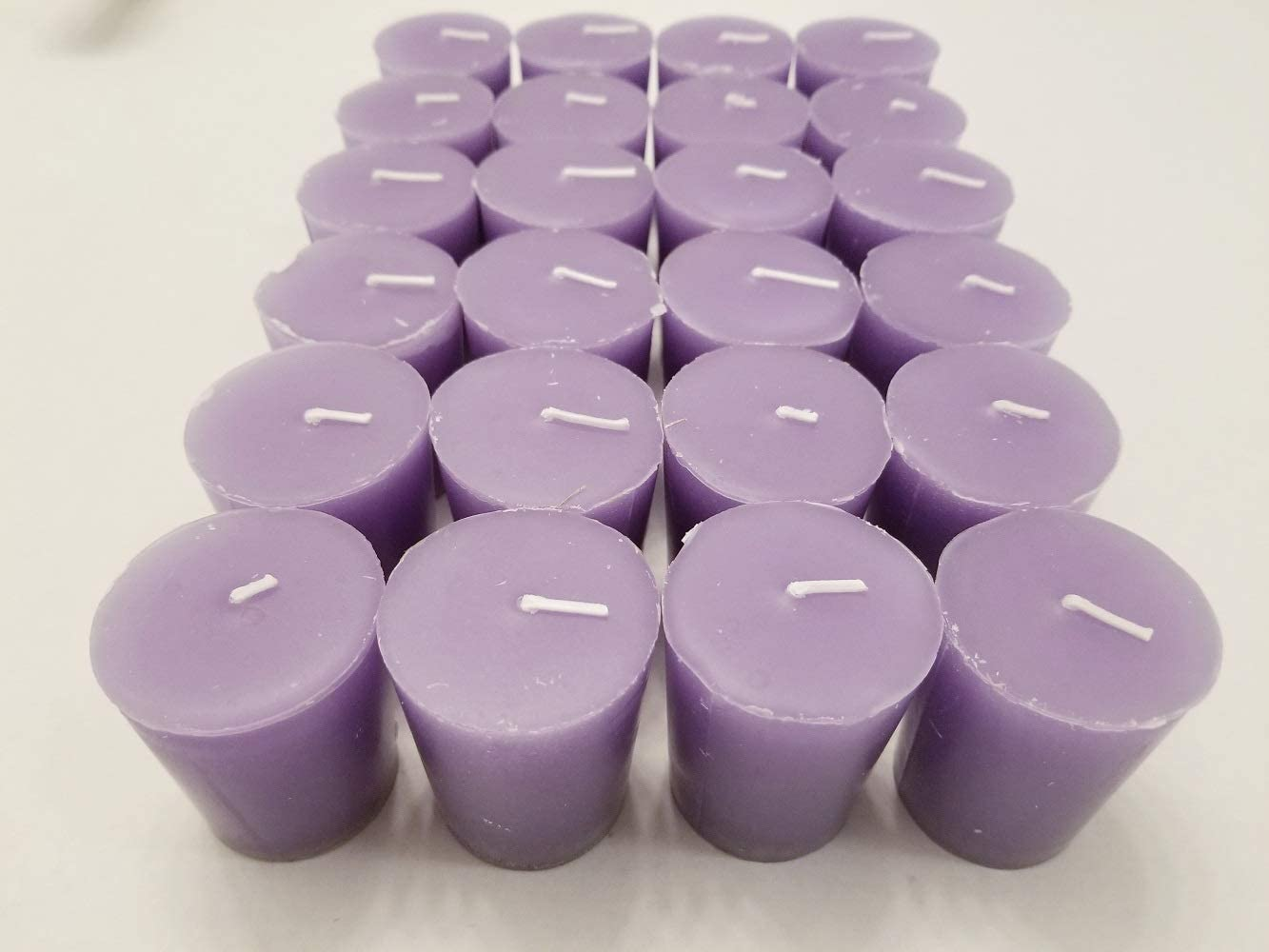 Amazon Com Old Candle Barn 24 Piece Votive Candles Lavender Scented 15 Hour Perfect Light Purple Votives Hand Poured Made In Usa Home Kitchen