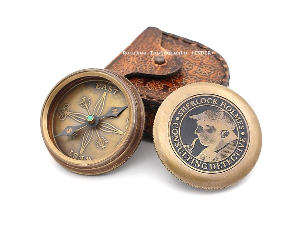 Roorkee Instruments India Vintage Brass Compass with Leather Case//Sherlock Holmes Directional Magnetic Compass for Navigation//Pocket Compass for Camping Hiking Touring//Birthday Gift for Men RIICM125