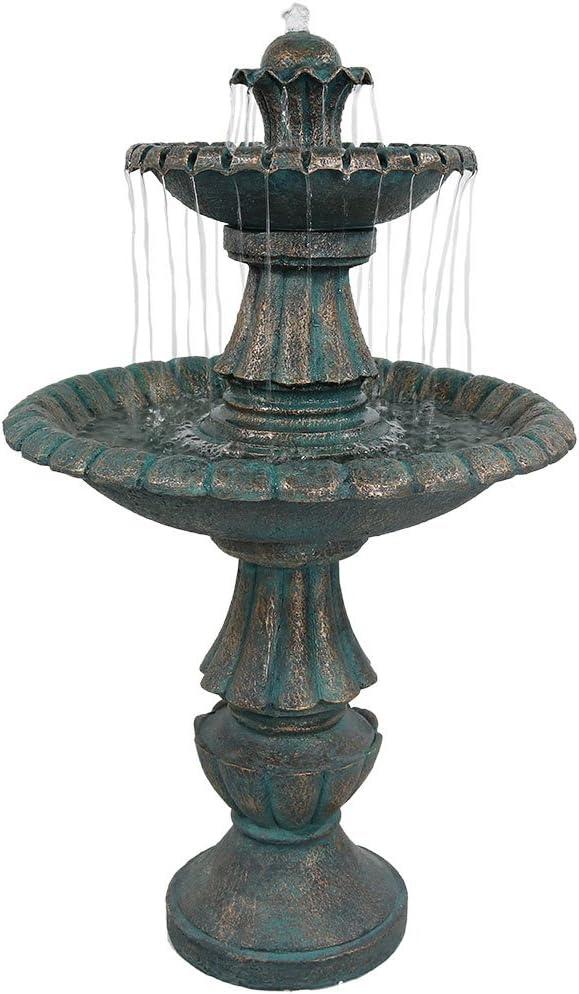 Sunnydaze Nouveau 2-Tier Outdoor Garden Water Fountain, Backyard and Patio Waterfall Feature, 41 Inch Tall