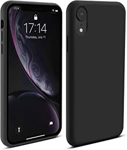 BEBEN Liquid Silicone Case Compatible with iPhone XR Case, Gel Rubber Full Body Protection Shockproof Cover Case Drop Protection Case for Apple iPhone XR 2018 (Black)