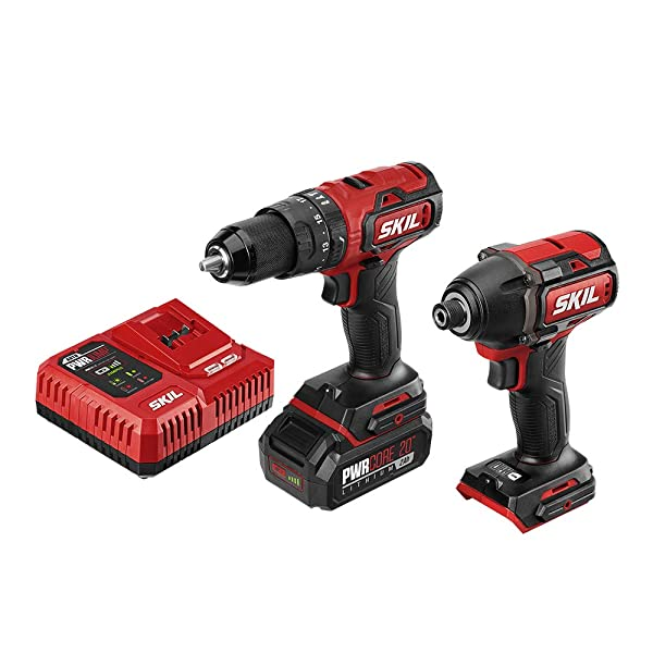 SKIL 2-Tool Kit: Pwrcore 20 Brushless 20V 1/2 Heavy Duty Hammer Drill & Cordless Impact Driver, Includes 2.0Ah Lithium Battery & Pwrjump Charger - CB743801