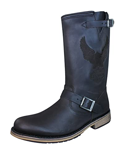 Harley Davidson Clint Mens Leather Biker Boots Amazon Co Uk Shoes