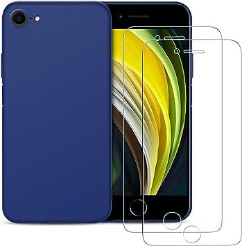 2 Pack E-Lush Caso Ultra Delgado Flexible Gel TPU Goma Case Cover Cristal Templado Protector de Pantalla Funda para iPhone SE 2020 Funda para iPhone SE 2020 Carcasa Suave Silicona TPU, Azul Oscuro
