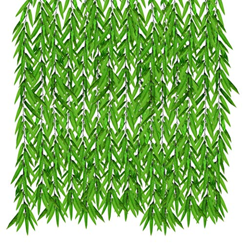 See Greeen Artificial Willow Leaves Garlands for Baby Shower, Birthday, Classroom, Table Runner and Safari Jungle Theme Party Decorations ()