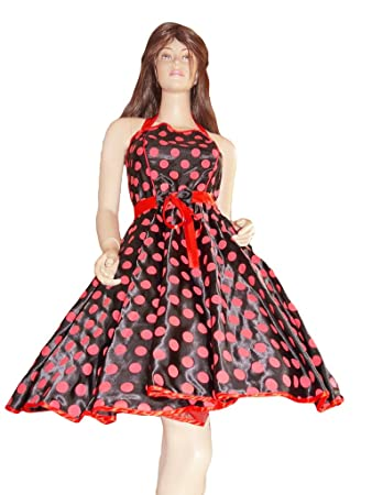 Seruna K13 Tolles Pettticoat Kleid In Schwarz Rot Tellerrock