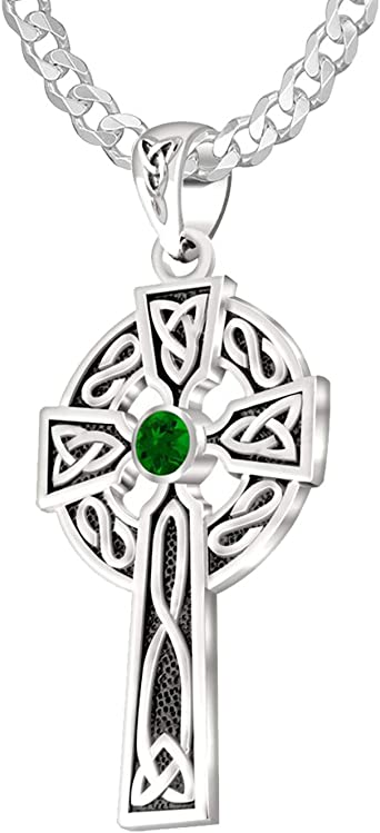 US Jewels And Gems New 0.925 Sterling Silver Irish Celtic Spiral Pendant Necklace