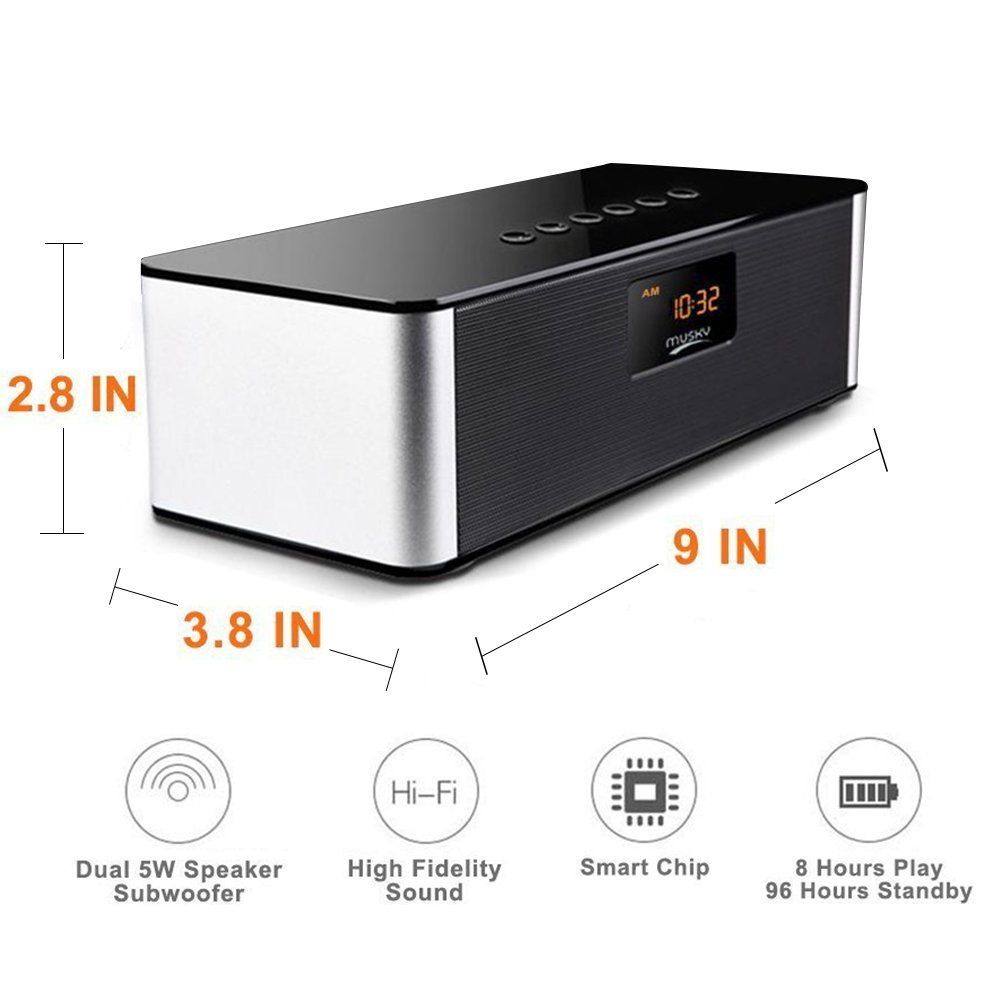 Bluetooth Speaker,XPLUS Portable Travel Wireless Bluetooth Speakers All-in-1,HIFI V4.0,Calling Built-In Mic, Support TF Card for Smartphones and All Audio Enabled Devices,Black