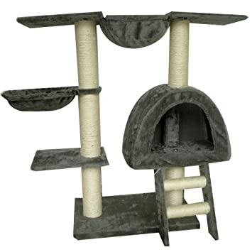SENLUOWX Rascador Para Gatos Color Gris Felpa Torre De Gato Gimnasio 105cm
