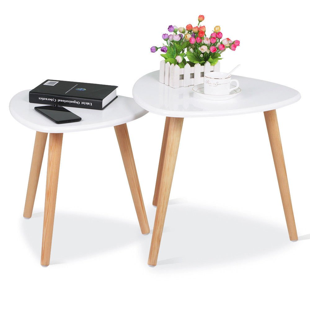 White MidCentury Living Room Gloss Wood Nesting End Table Sofa Side Coffee Table with ebook
