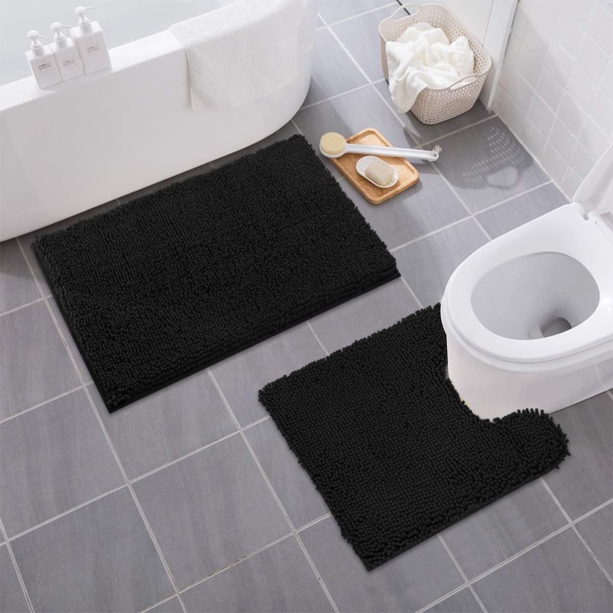 MAYSHINE Bathroom Rug Toilet Sets and Shaggy Non Slip Machine Washable Soft Microfiber Bath Contour Mat Dark Gray, 32x20 // 20x20 Inches U-Shaped