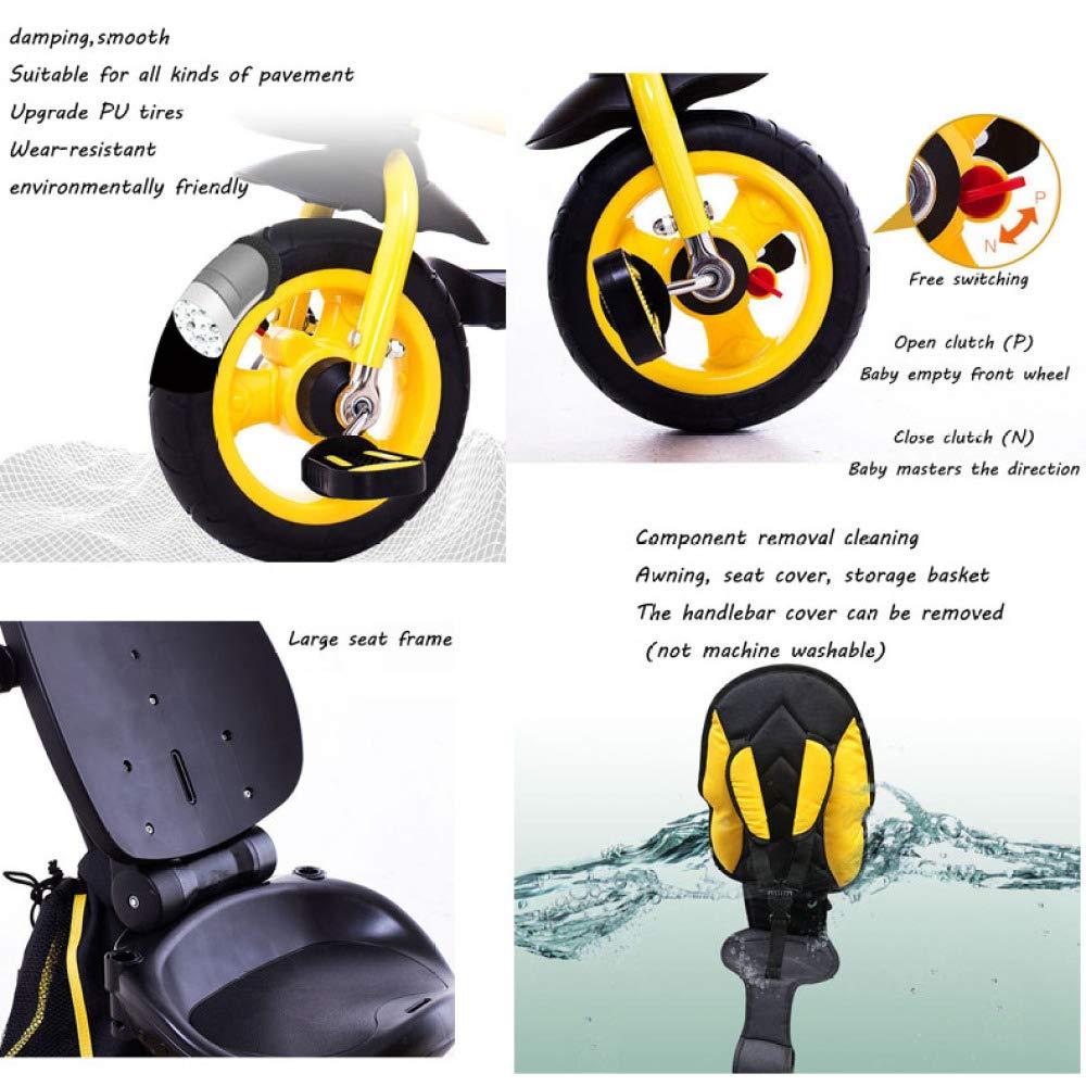 ... Triciclo Bebé Plegable Toldo Abatible Y Desmontable Mango Regulable En Altura Triciclo Infantil Máximo Del Cojinete Es 25kg,Black: Amazon.es: Hogar