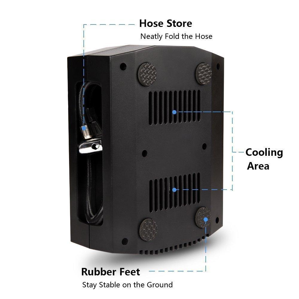 ARTINTO port/áil 3/D/üsen Luftdruck f/ür Motorrad//Fahrrad//Luftmatratze//Ball /12/V 150PSI voreingestellte automatische Abschaltung Luft-Kompressor Pumpe Luftpumpe Digital mit LED Licht/