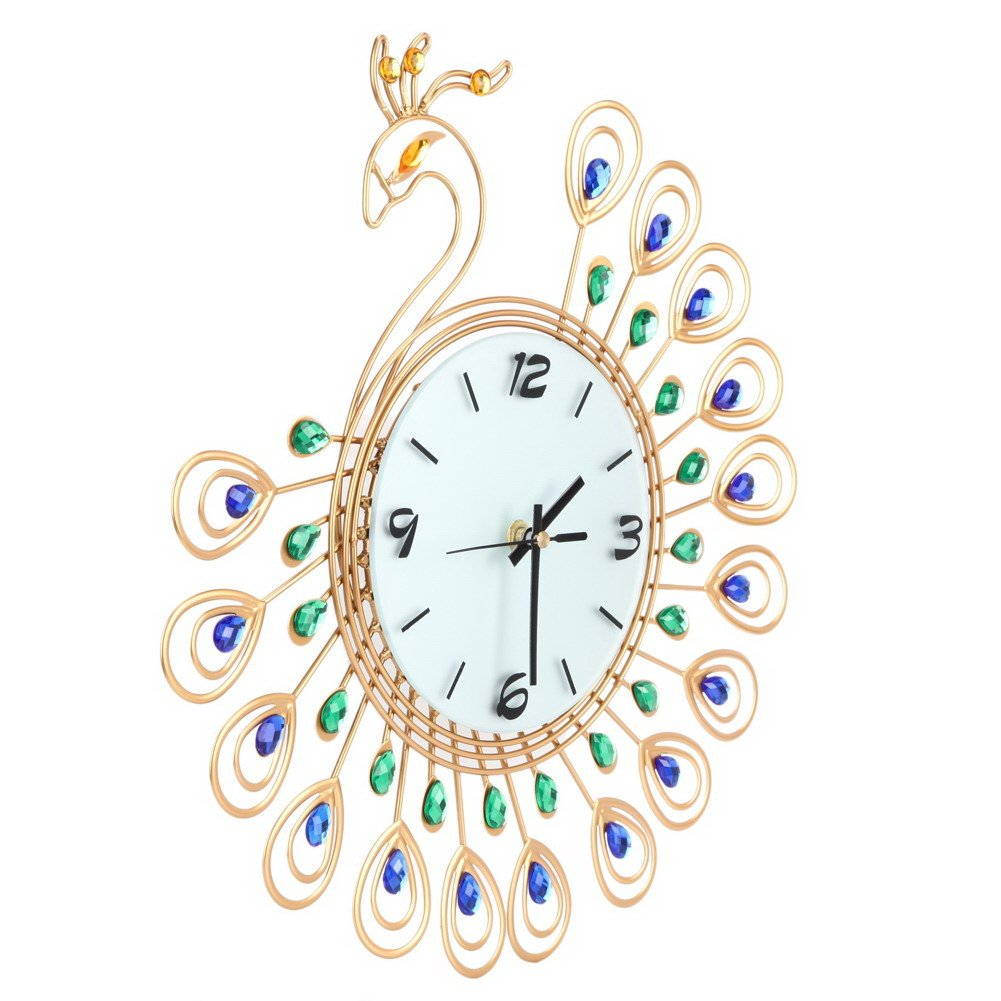 Easydeal Luxury 40Pcs Diamond Decorative3D Peacock Large Wall Clocks Metal Living Room Wall Decor Clock Golden