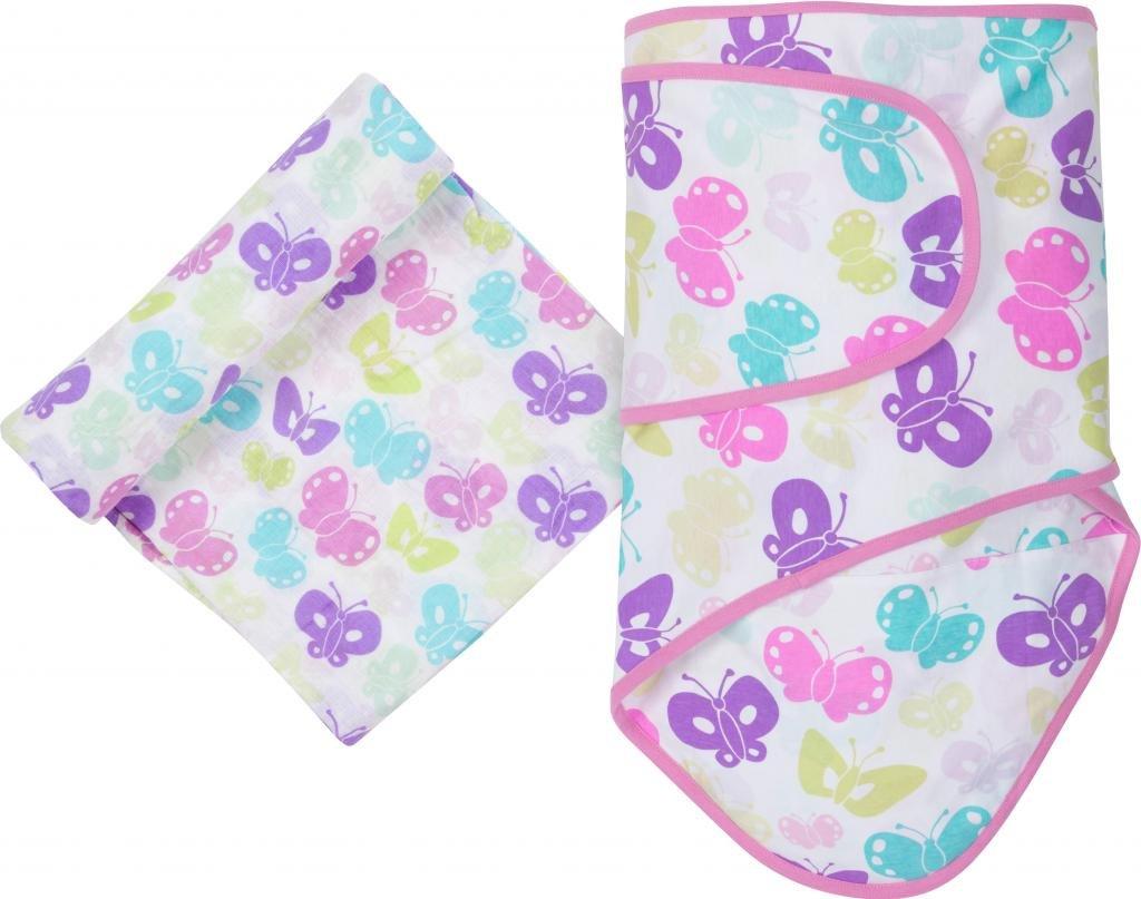 MiracleWare Muslin Swaddle Blanket and Miracle Blanket Set, Butterflies
